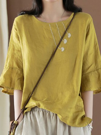 Summer Daily Solid Shift Linen Casual Frill Sleeve Top