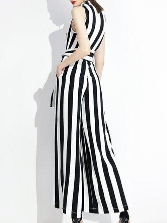 Sleeveless White-Black Surplice Neck Striped Elegant Jumpsuit
