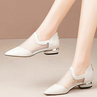 Genuine Leather Panel Mesh Pointed Toe Shoes