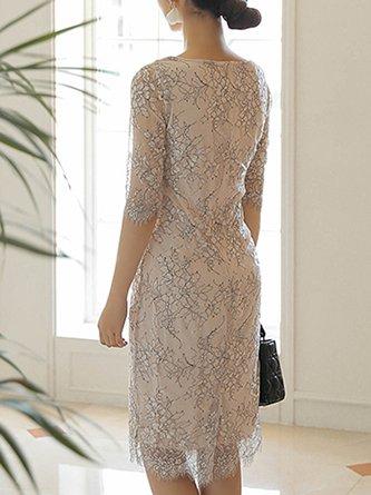 Summer Party Date Elegant Guipure Lace Sheath Midi Dress