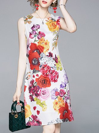 White Floral Printed Daily Holiday Zipper Mini Dress