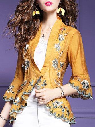 Casual Frill Sleeve Floral-Print V Neck Outerwear Kimono