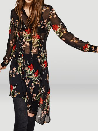 Summer Long Sleeve Sheath Floral Shirt Collar Casual Top
