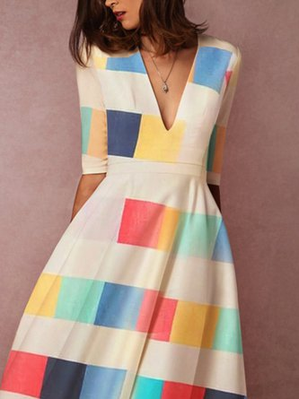 Short Sleeve A-Line Party Geometric Printed Midi Dress