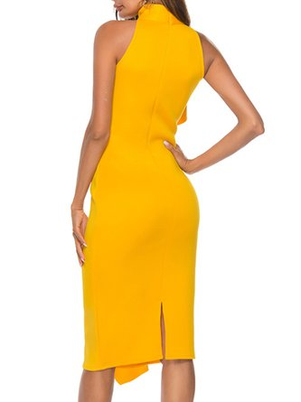 Stand Collar Yellow Party Evening Sheath Prom Statement Midi Dress