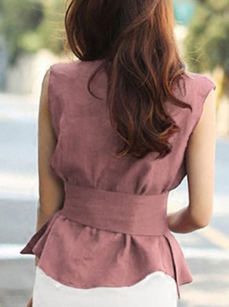 Pink Solid Daily Sleeveless Casual Top
