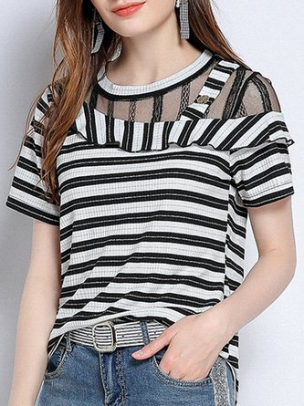 850d30d90 Solid Crew Neck Daily Casual Short Sleeve Lace T-Shirt. $52.49. Black  Casual Striped Printed T-Shirt Top