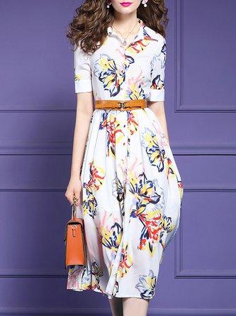 Date Printed Floral Midi Elegant Dress