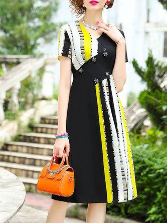 V Neck A-Line Date Elegant Midi Dress