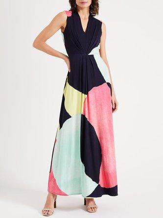 V Neck Swing Casual Holiday Maxi Dress