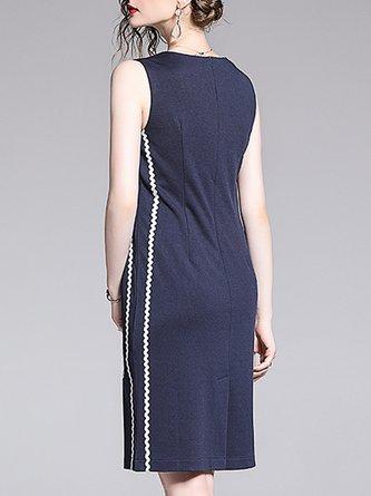 Dark Blue Floral-Embroidered Sheath Date Mini Dress