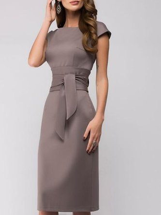 Solid Sheath Work Zipper Elegant Midi Dress