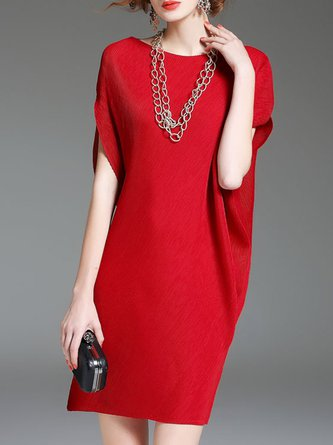 Red Shift Solid Midi Casual Dress