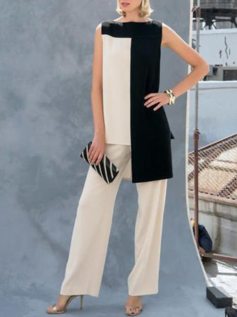 Elegant Sleeveless Suit Top With Pants Two-piece Set