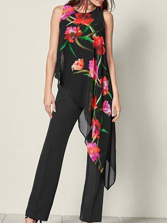 Summer Casual Floral-Print Jumpsuit