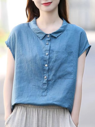 Casual Stand Collar Linen Solid Top