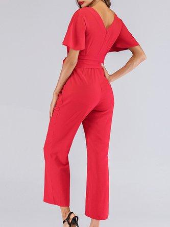 Red V Neck Paneled Work Short Sleeve One-Piece Jumpsuit