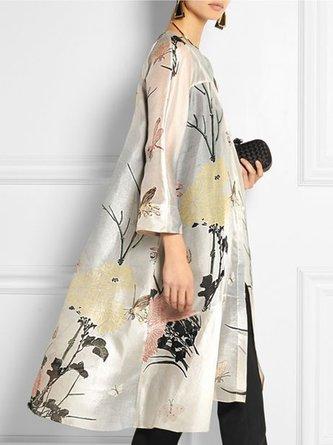 3/4 Sleeve Floral Casual Kimono