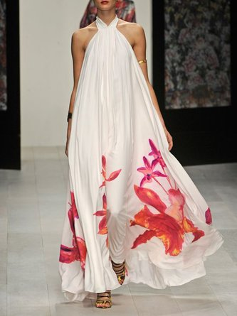 White Shift Holiday Casual Floral-Print Maxi Dress