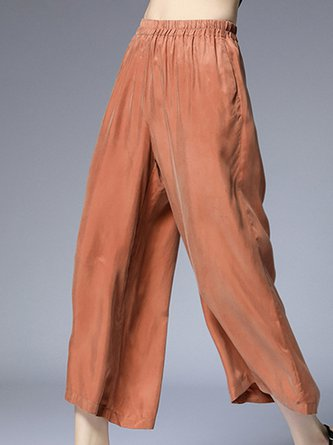 Casual Copper Wire Solid Wide Leg Pants