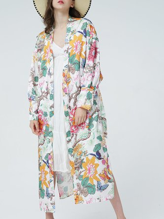 Multicolor Casual Slit Long Sleeve Floral Beach Holiday Kimono