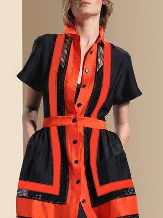Statement Shirt Collar Casual Color-block Paneled Midi Dress