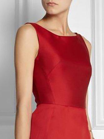 A-Line Elegant Paneled Midi Dress