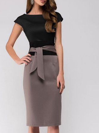 Sheath Work Paneled Midi Dress