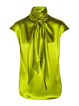 Green Solid Casual Turtleneck Blouse