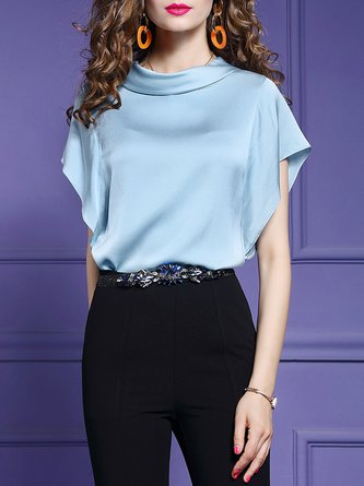 Blue Work Cowl Neck Solid Frill Sleeve Blouse