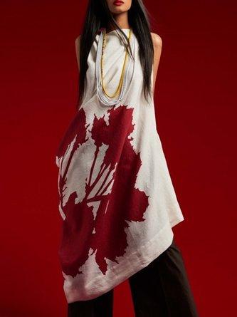 White Casual Sleeveless Shift Printed Tunic