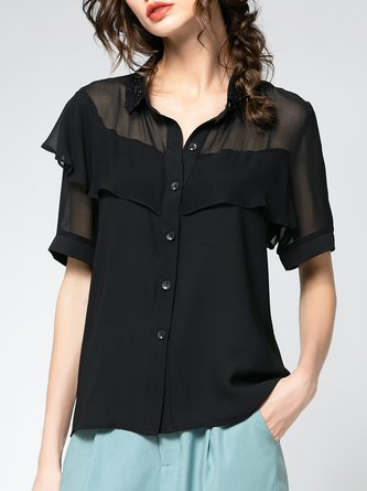 Summer Solid Daily Casual Blouse