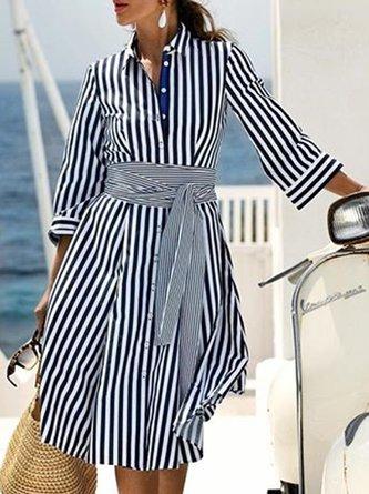 Shirt Collar Black Holiday Striped Midi Dress