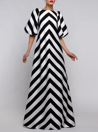 Striped Elegant Printed Maxi Dress