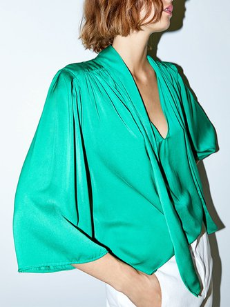 Green Keyhole Casual Statement Blouse