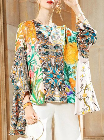 Multicolor Printed Floral Shift Batwing Statement Blouse