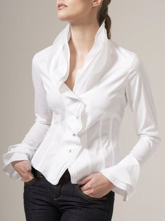 Bell Sleeve Buttoned Elegant Work Blouse