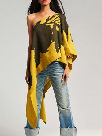 Yellow Statement Asymmetrical One Shoulder Tunic