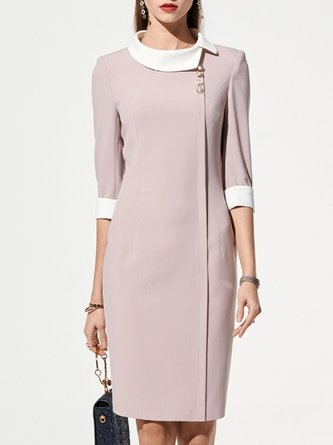 Stand Collar Pink Sheath Work Elegant Midi Dress