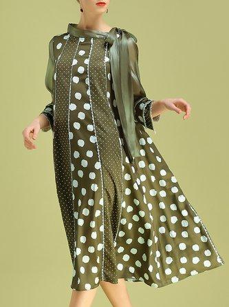 Stand Collar Green Polka Dots Midi Dress