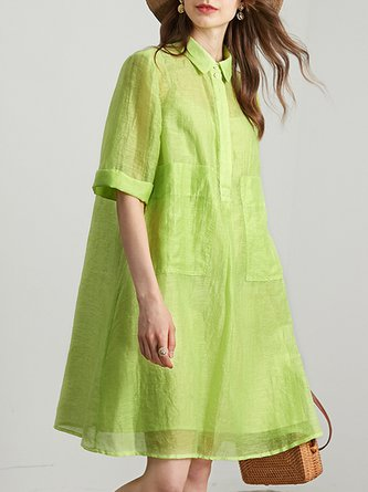 Green Shift Daily Solid Midi Dress