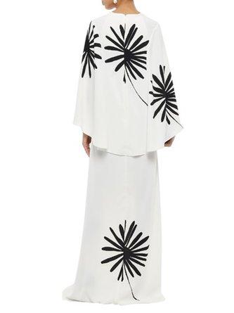 Elegant Shift Prom Floral Maxi Dress