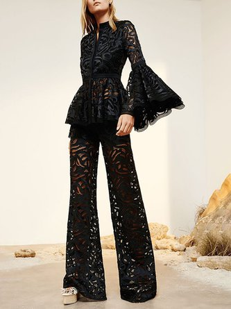 Black Guipure Lace Outfits Elegant Top With Pants Two-piece Set