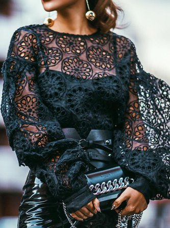Statement Balloon Sleeve Guipure Lace Top
