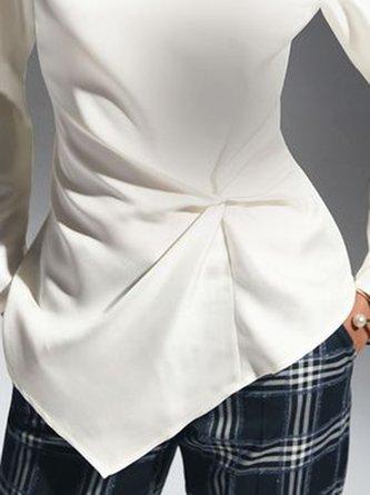 Turtleneck Knot Front Elegant Work Blouse