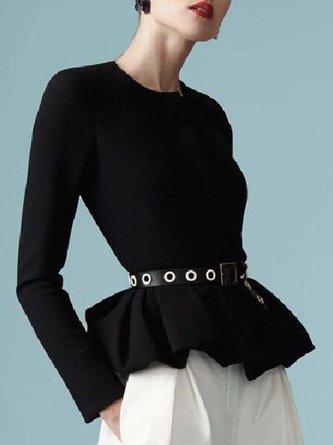 Black-White Elegant Top With Pants Two-piece Set