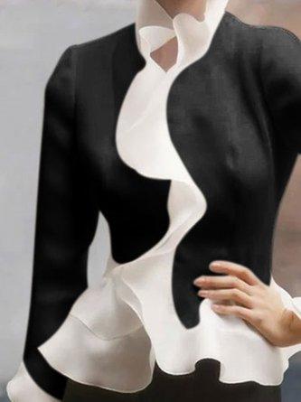 Elegant Ruffled Sheath Bell Sleeve Work Blouse