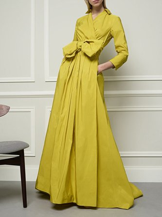Surplice Neck Swing Elegant Solid Maxi Dress