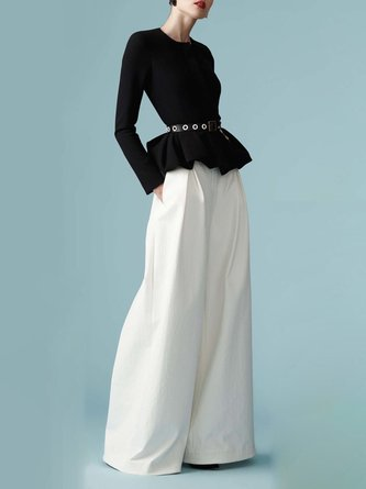 Black-White Elegant Top With Pants Two-piece Set