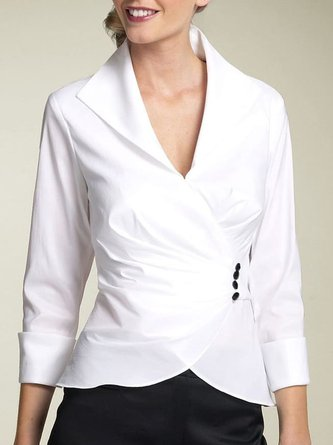 White Long Sleeve Knot Front Work Blouse